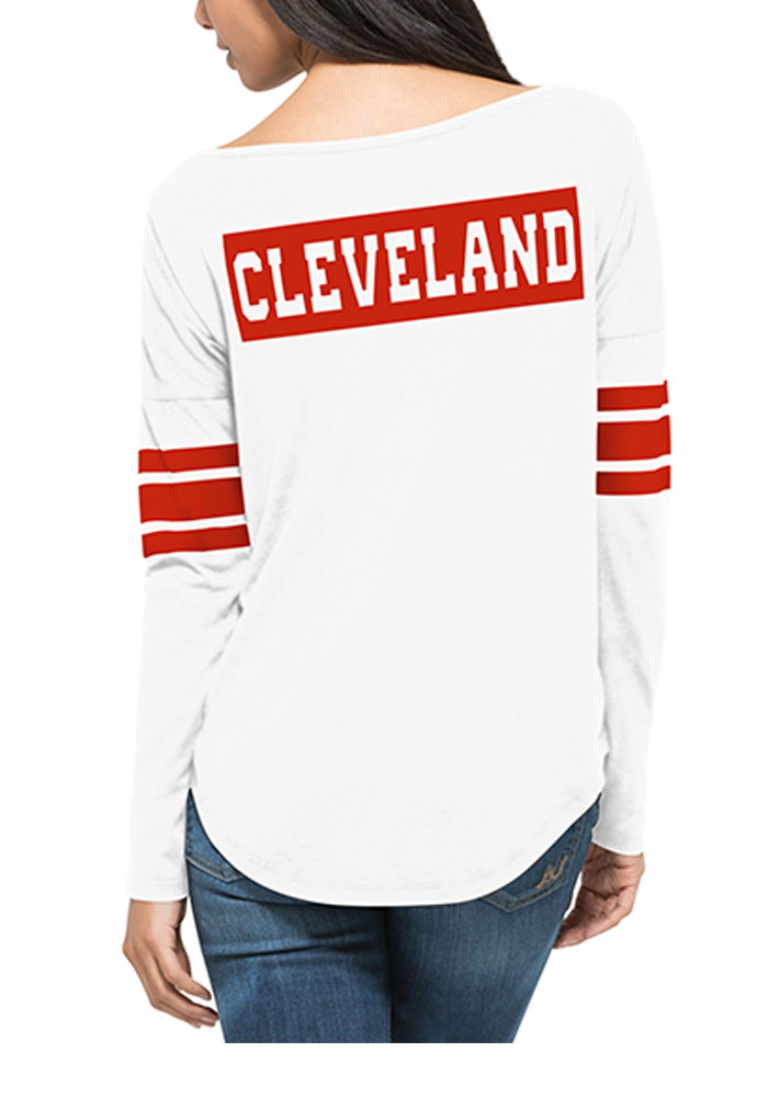 '47 Cleveland Browns Womens White Courtside LS Tee - Image 4