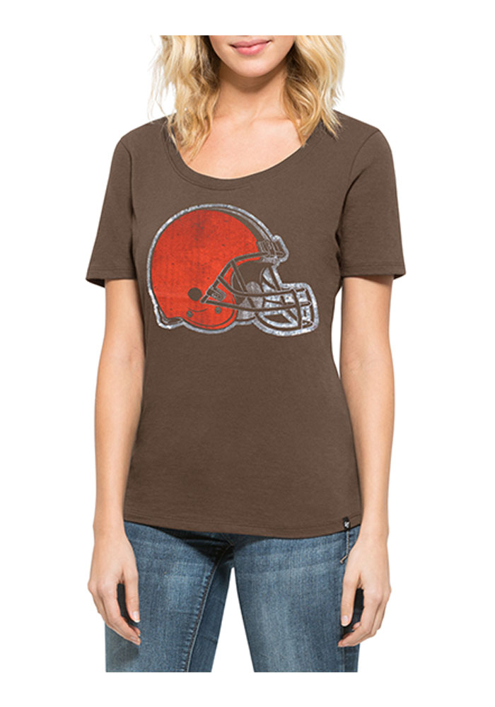 47 Cleveland Browns Womens Brown Lux Sequin Scoop T-Shirt - Image 1