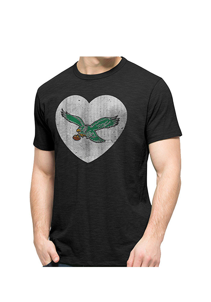'47 Philadelphia Eagles Mens Black Heart Logo Scrum Short Sleeve Fashion T Shirt - Image 1