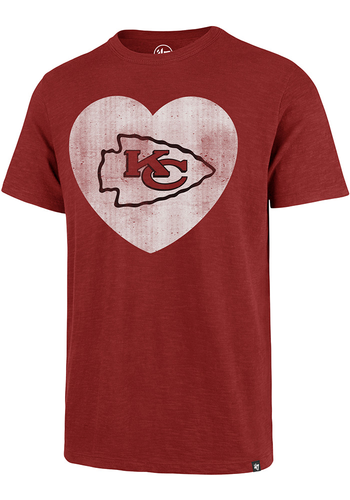 '47 Kansas City Chiefs Mens Red Heart Logo Scrum Short Sleeve Fashion T Shirt - Image 1