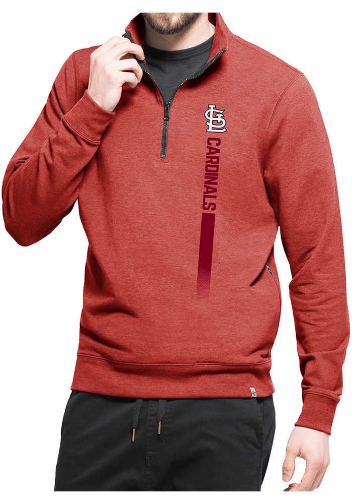 '47 St Louis Cardinals Mens Red On Side Long Sleeve 1/4 Zip Pullover - Image 1