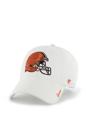 '47 Cleveland Browns Womens White Sparkle Adjustable Hat