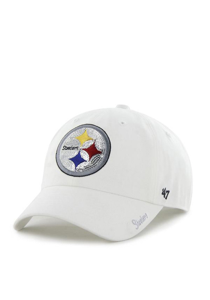 '47 Pittsburgh Steelers White Sparkle Womens Adjustable Hat - Image 1