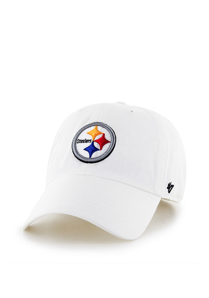 '47 Pittsburgh Steelers Mens White Ice Clean Up Adjustable Hat - Image 1