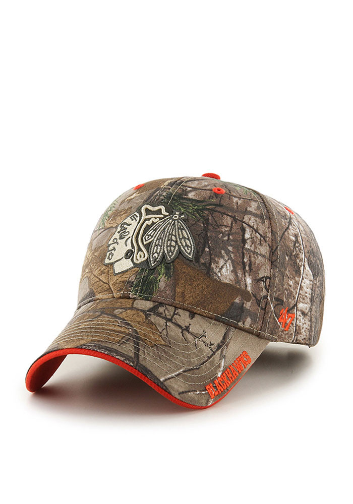 '47 Chicago Blackhawks Mens Green RealTree Frost MVP Adjustable Hat - Image 1