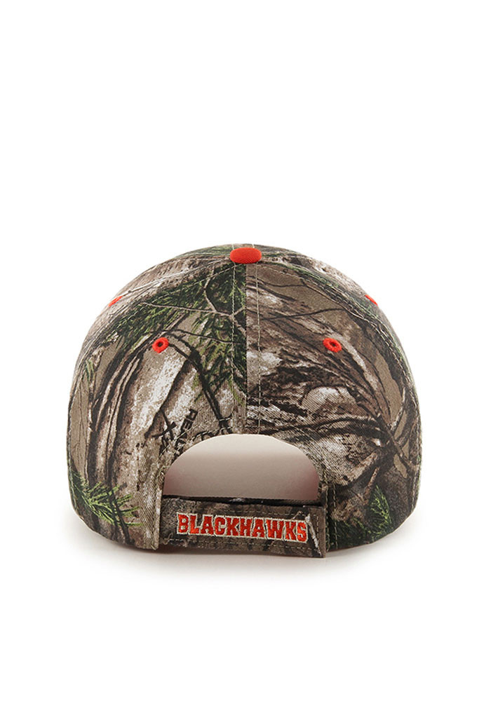 '47 Chicago Blackhawks Mens Green RealTree Frost MVP Adjustable Hat - Image 2