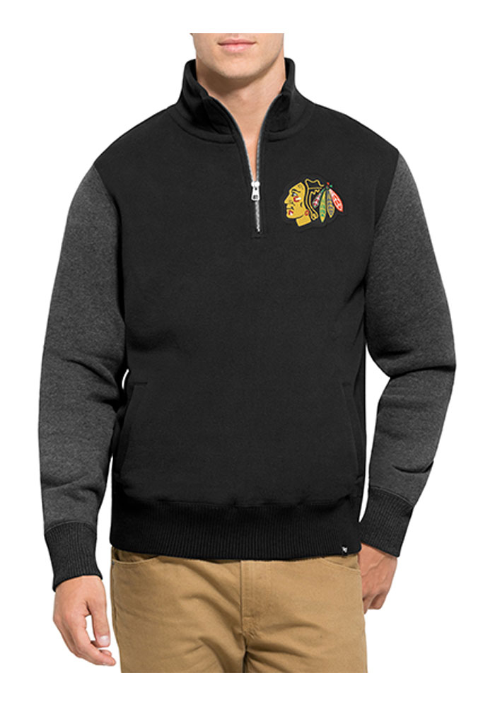 '47 Chicago Blackhawks Mens Black Triple Coverage Long Sleeve 1/4 Zip Fashion Pullover - Image 1