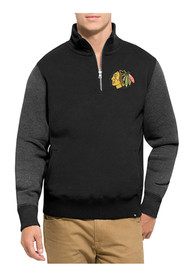 47 Chicago Blackhawks Black Triple Coverage 1/4 Zip Fashion Pullover