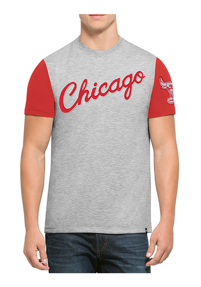 '47 Chicago Bulls Mens Red Triple Up Short Sleeve Fashion T Shirt - Image 1