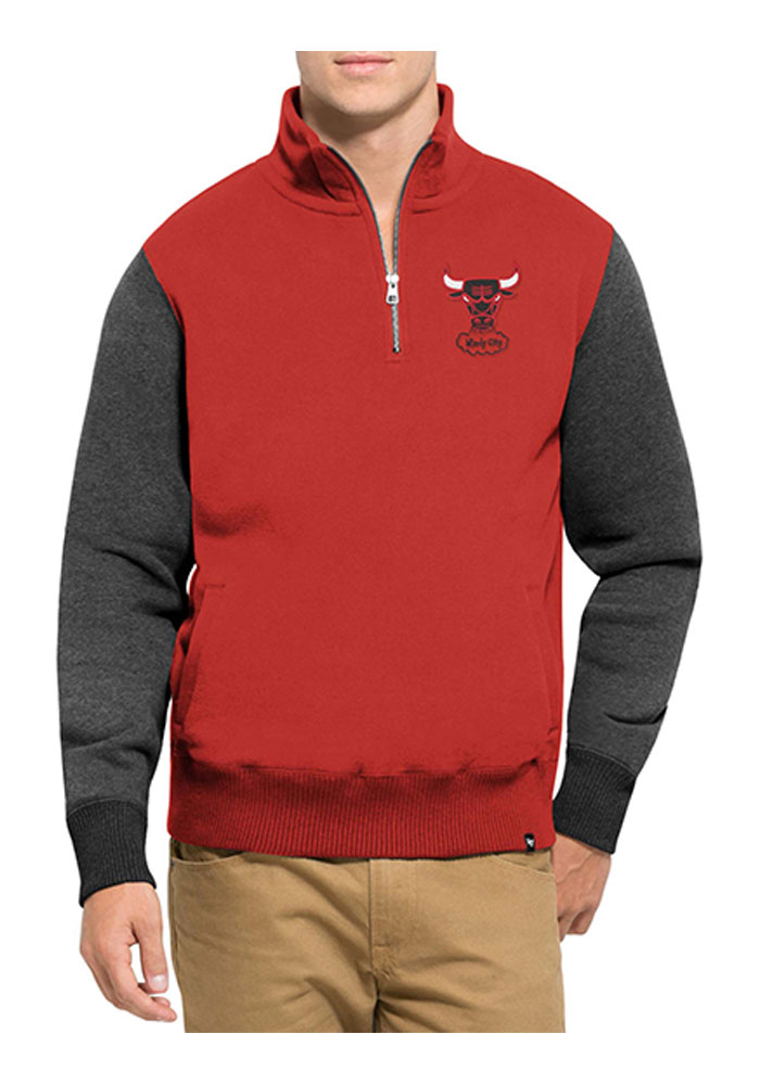 '47 Chicago Bulls Mens Red Triple Coverage Long Sleeve 1/4 Zip Fashion Pullover - Image 1
