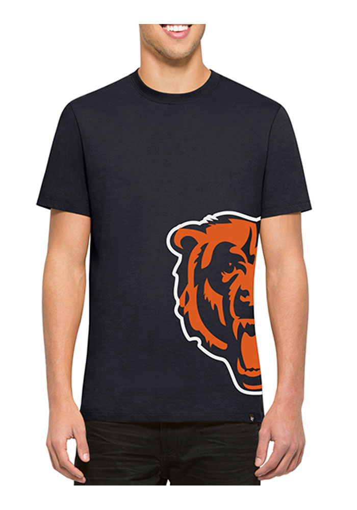 '47 Chicago Bears Mens Navy Blue Double Coverage Short Sleeve Fashion T Shirt - Image 1