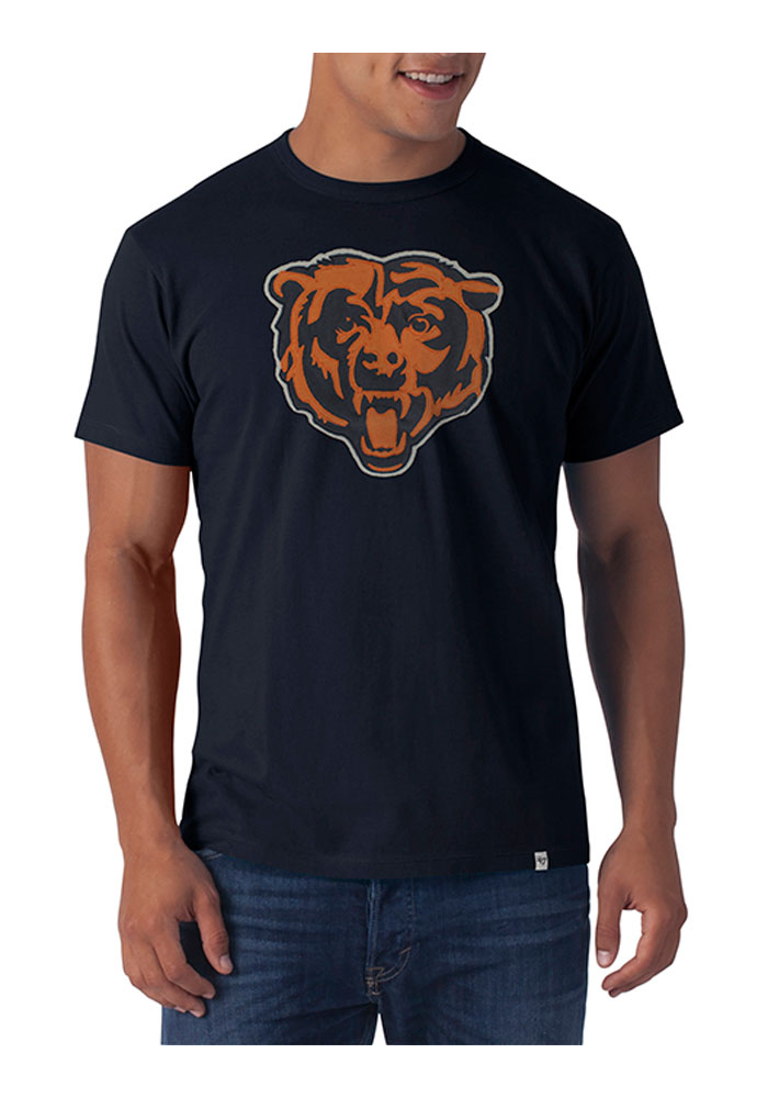 '47 Chicago Bears Mens Navy Blue Knockout Short Sleeve Fashion T Shirt - Image 1
