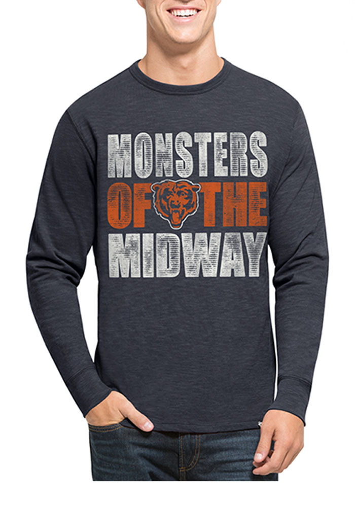 '47 Chicago Bears Mens Navy Blue Scrum Long Sleeve Fashion T Shirt - Image 1