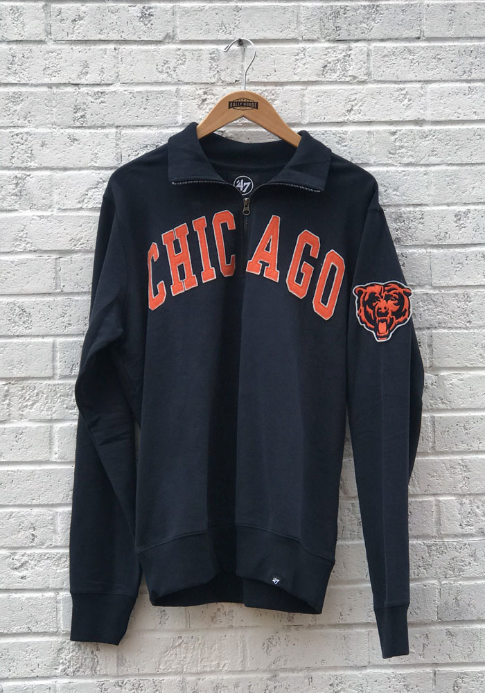 '47 Chicago Bears Mens Navy Blue Striker Long Sleeve 1/4 Zip Fashion Pullover - Image 1