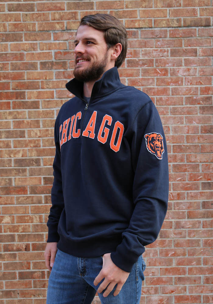 '47 Chicago Bears Mens Navy Blue Striker Long Sleeve 1/4 Zip Fashion Pullover - Image 2