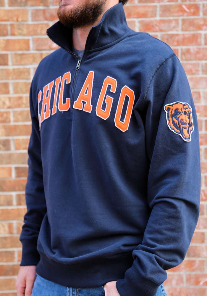 '47 Chicago Bears Mens Navy Blue Striker Long Sleeve 1/4 Zip Fashion Pullover - Image 3