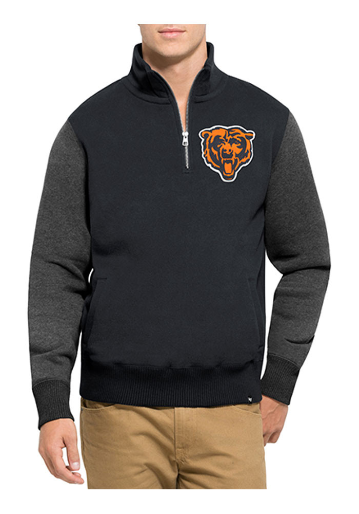 '47 Chicago Bears Mens Navy Blue Triple Coverage Long Sleeve 1/4 Zip Fashion Pullover - Image 1