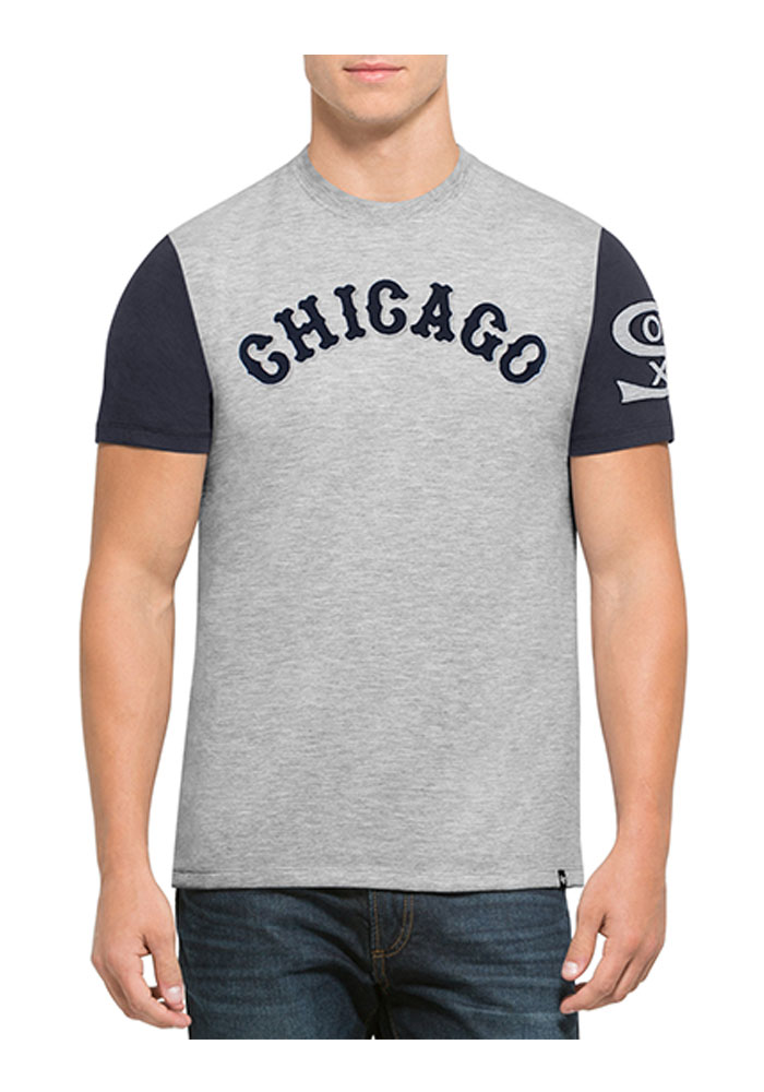 47 Chicago White Sox Grey Triple Up Short Sleeve Fashion T Shirt - Image 1