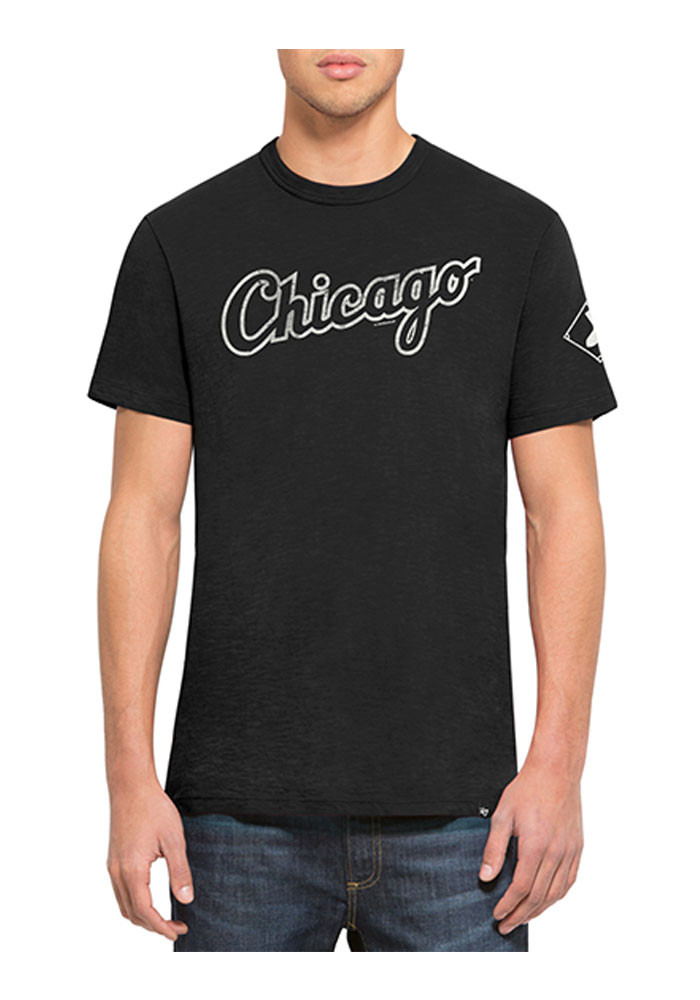 '47 Chicago White Sox Mens Black Two Peat Scrum Short Sleeve Fashion T Shirt - Image 1