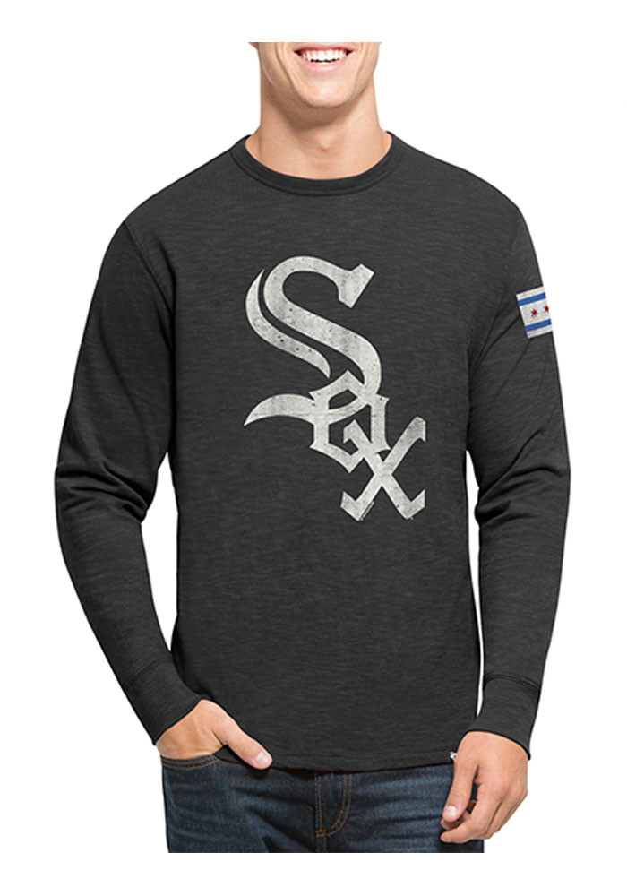 '47 Chicago White Sox Mens Black Two Peat Scrum Long Sleeve Fashion T Shirt - Image 1