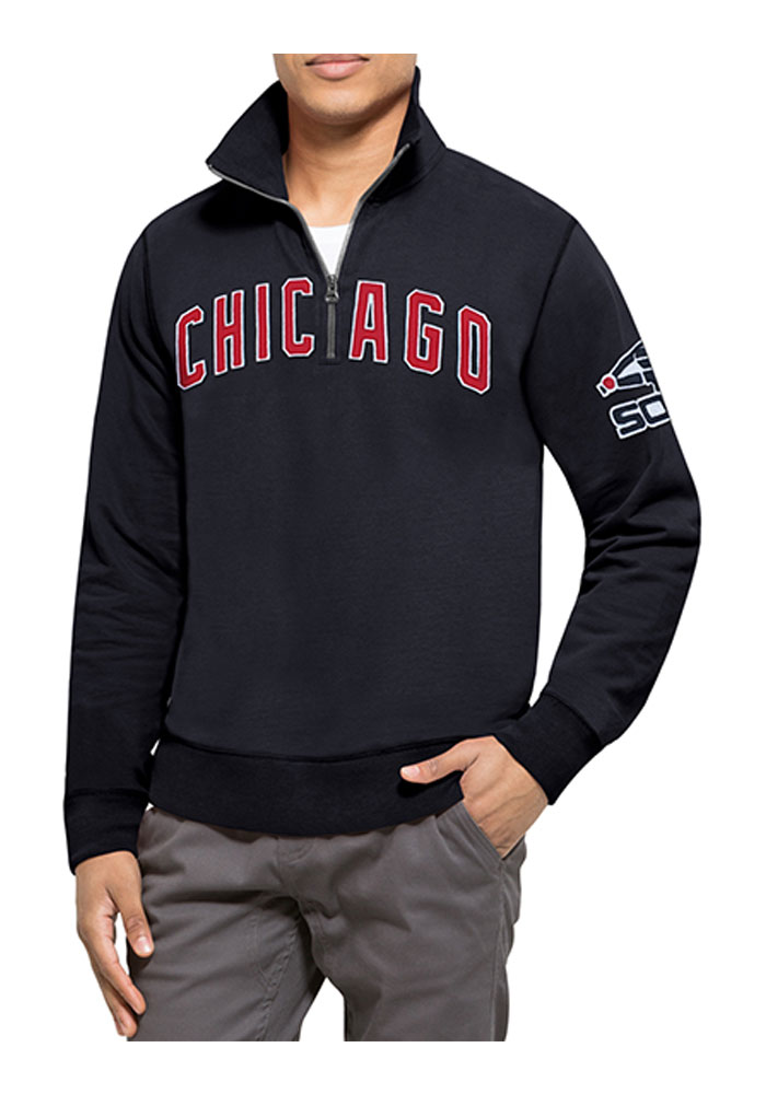 '47 Chicago White Sox Mens Navy Blue Striker Long Sleeve 1/4 Zip Fashion Pullover - Image 1