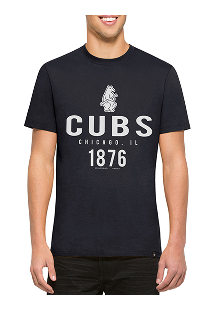 '47 Chicago Cubs Mens Navy Blue Crosstown Flanker Short Sleeve Fashion T Shirt - Image 1