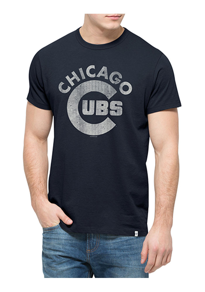 '47 Chicago Cubs Mens Navy Blue Flanker Short Sleeve Fashion T Shirt - Image 1