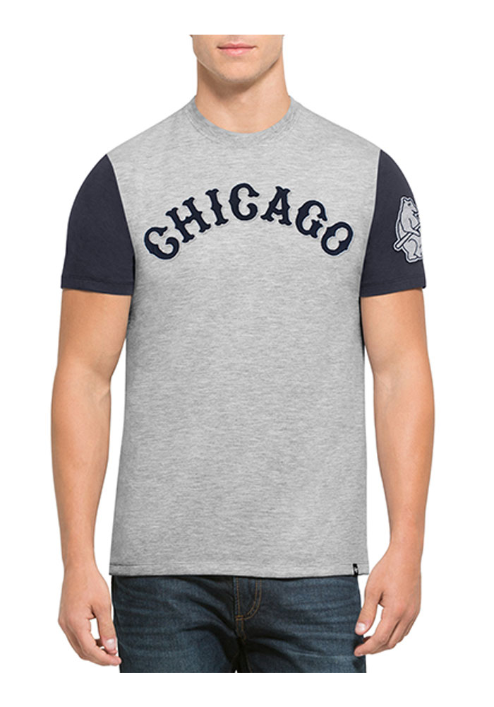 '47 Chicago Cubs Mens Blue Triple Up Short Sleeve Fashion T Shirt - Image 1