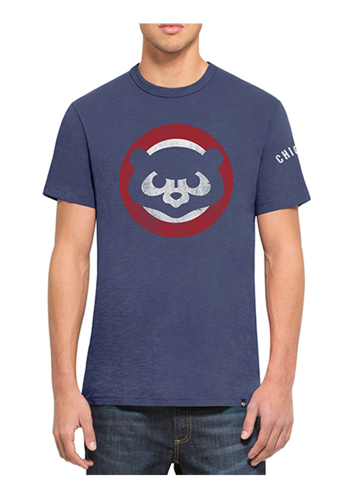 '47 Chicago Cubs Mens Blue Two Peat Scrum Short Sleeve Fashion T Shirt - Image 1