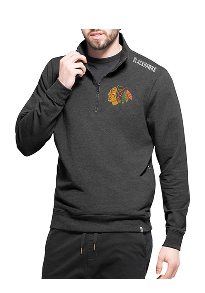 '47 Chicago Blackhawks Mens Black Forward Compete Long Sleeve 1/4 Zip Pullover - Image 1
