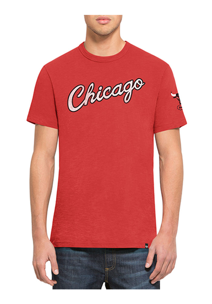 '47 Chicago Bulls Mens Red Two Peat Short Sleeve Fashion T Shirt - Image 1