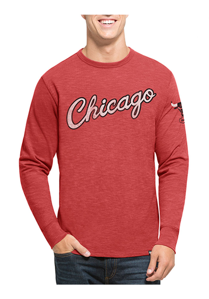 '47 Chicago Bulls Mens Red Two Peat Long Sleeve Fashion T Shirt - Image 1
