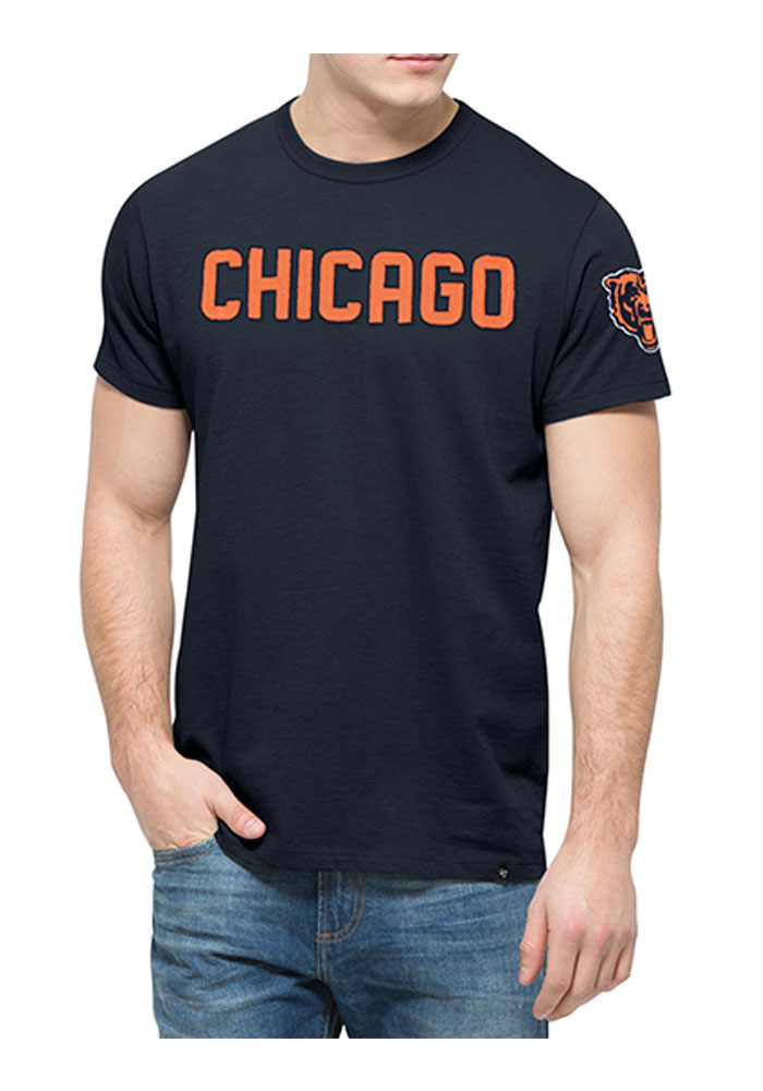 '47 Chicago Bears Mens Navy Blue Fieldhouse Short Sleeve Fashion T Shirt - Image 1