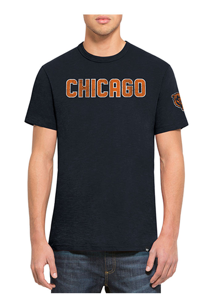 '47 Chicago Bears Mens Navy Blue Two Peat Scrum Short Sleeve Fashion T Shirt - Image 1