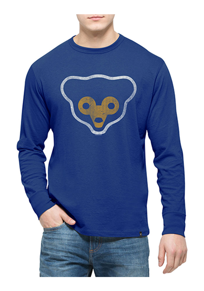 '47 Chicago Cubs Mens Blue Flanker Long Sleeve Fashion T Shirt - Image 1