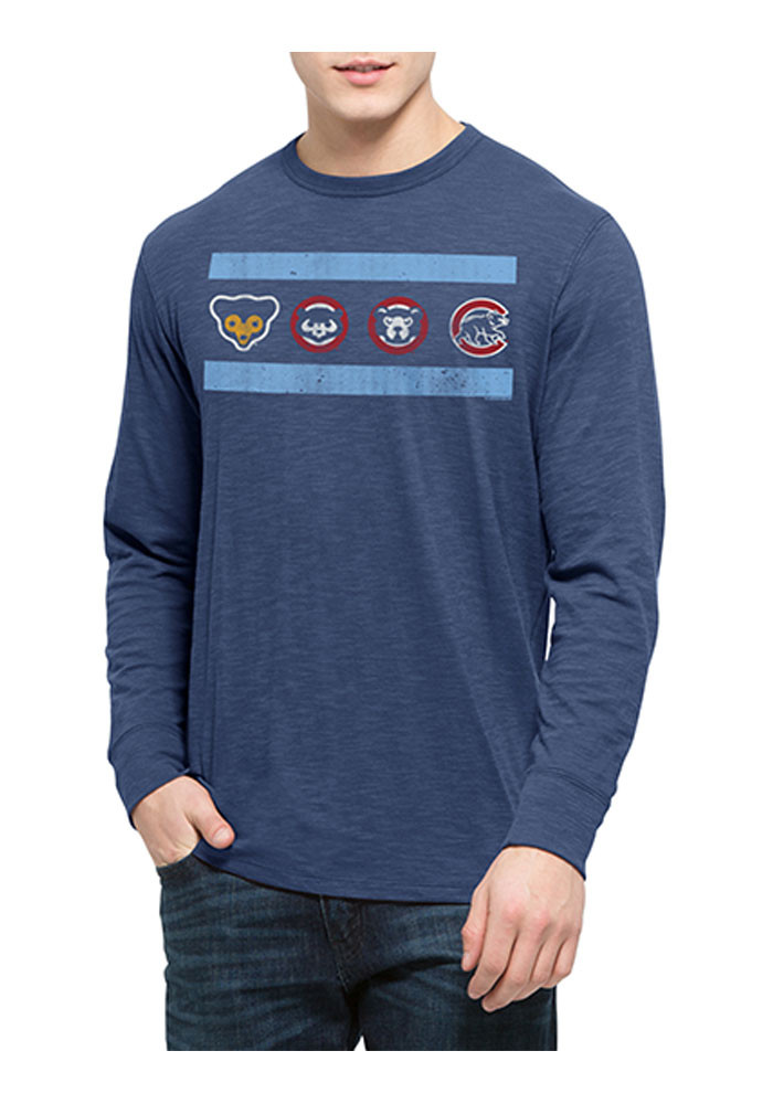 '47 Chicago Cubs Mens Blue Scrum Long Sleeve Fashion T Shirt - Image 1