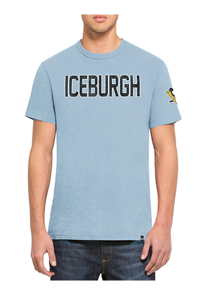 '47 Pittsburgh Penguins Mens Light Blue Two Peat Scrum Short Sleeve Fashion T Shirt - Image 1