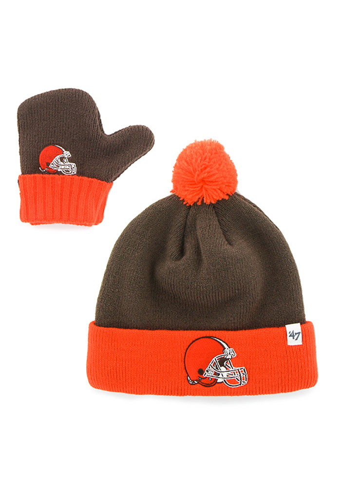 '47 Cleveland Browns Brown Bam Bam Baby Knit Hat - Image 1