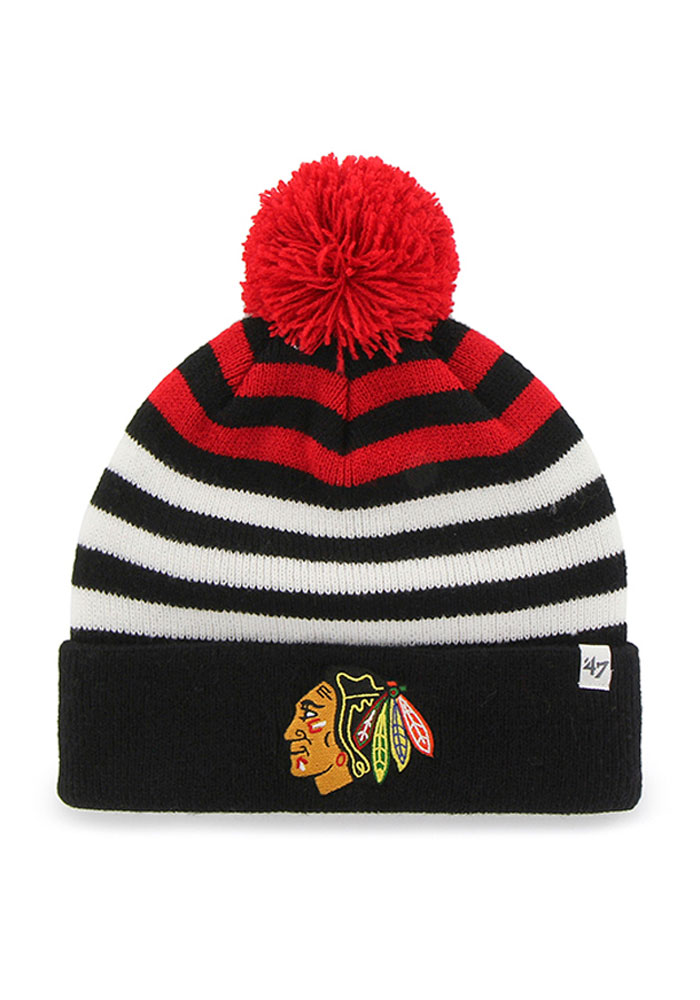 47 Chicago Blackhawks Black Yipes Youth Knit Hat - Image 1