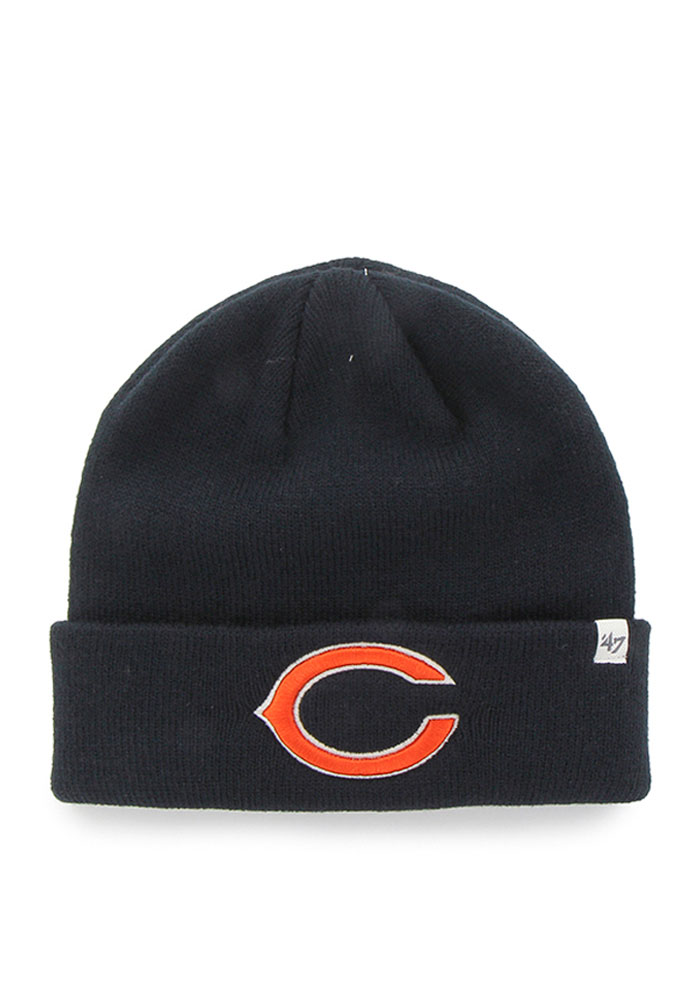 '47 Chicago Bears Navy Blue Raised Cuff Mens Knit Hat - Image 1
