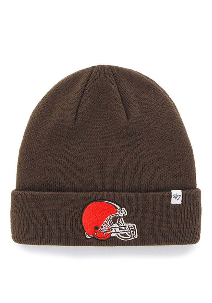'47 Cleveland Browns Brown Raised Cuff Mens Knit Hat - Image 1