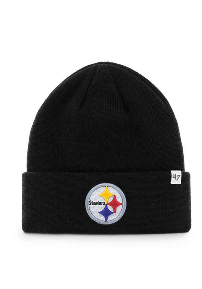 '47 Pittsburgh Steelers Black Raised Cuff Mens Knit Hat - Image 1