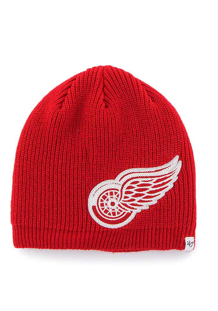 '47 Detroit Red Wings Red Sparkle Beanie Womens Knit Hat - Image 1