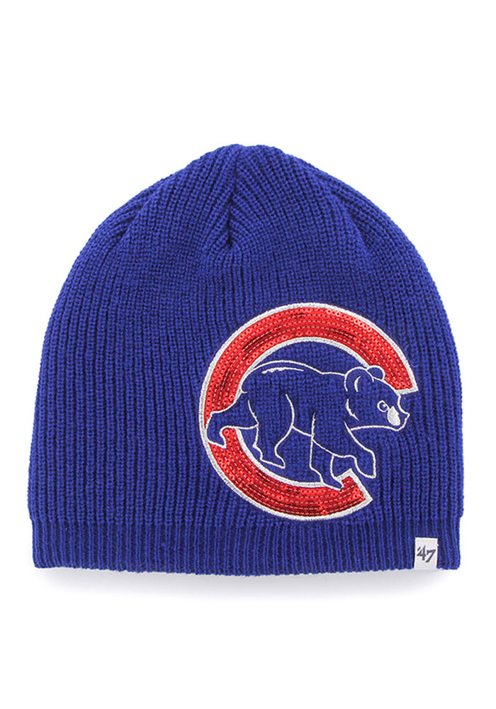 6b790a4d8531e7 ... discount code for 47 chicago cubs womens blue sparkle beanie knit hat  2c625 f2946