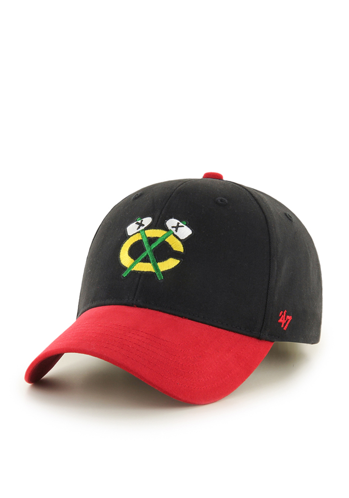 Chicago Blackhawks Black Short Stack Youth Adjustable Hat - Image 1
