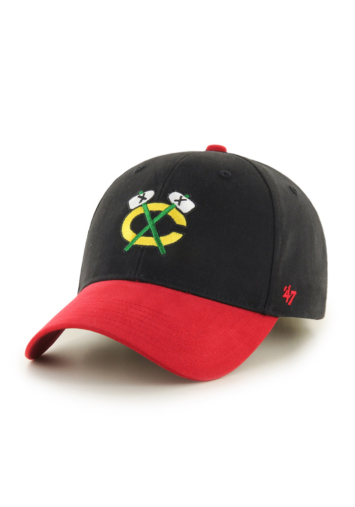 Chicago Blackhawks Black Short Stack Youth Adjustable Hat - Image 2