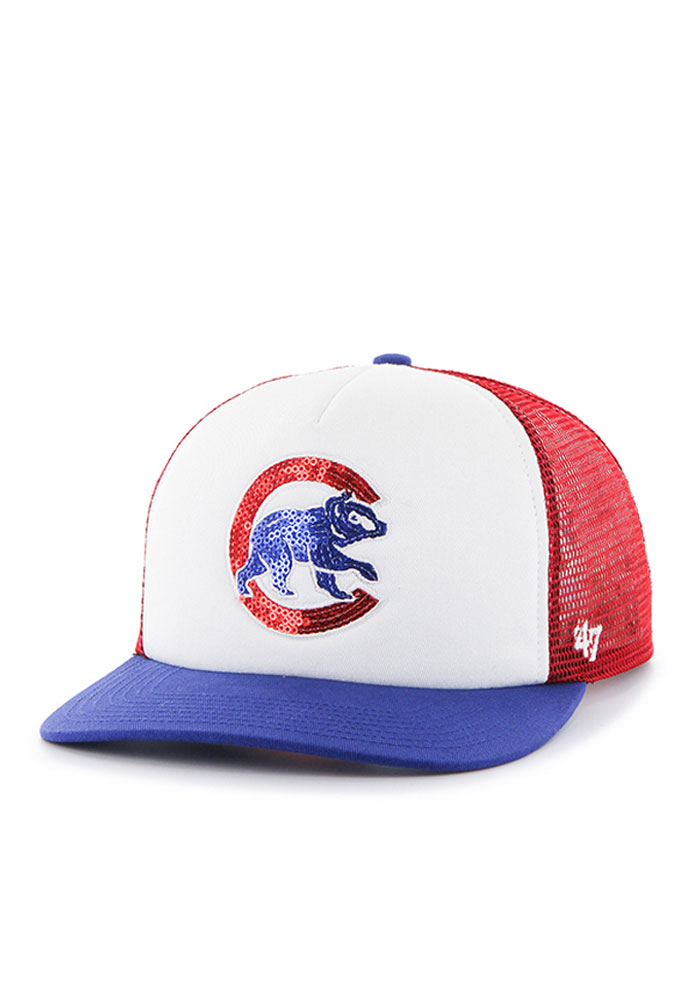 47 Chicago Cubs Red Glimmer Womens Adjustable Hat - Image 1