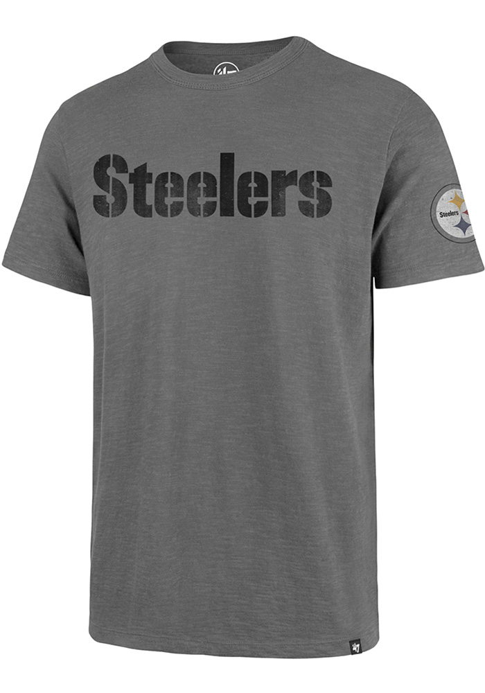 47 Pittsburgh Steelers Grey Two Peat Short Sleeve Fashion T Shirt - Image 1