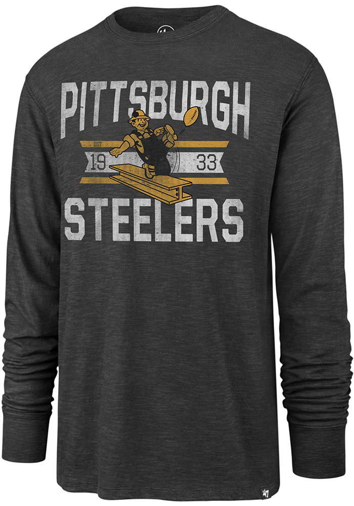 47 Pittsburgh Steelers Grey Scrum Long Sleeve Fashion T Shirt - Image 1
