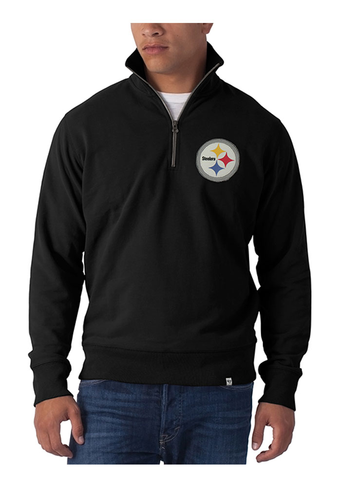 '47 Pittsburgh Steelers Mens Black Striker Long Sleeve 1/4 Zip Fashion Pullover, Black, 100% COTTON, Size L